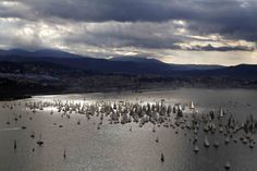 Oct. 13, 2013. Sailing boats gather at the start of the Barcolana Regatta in the Gulf of Trieste, Italy.