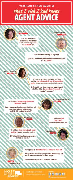 Infographic: Advice to Become a Travel Agent.   Seven veteran travel professionals share their advice on things they wished they'd known when they started!