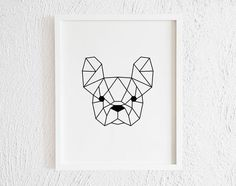 Check out our french bulldog selection for the very best in unique or custom, handmade pieces from our shops. French Bulldog Tattoo, French Bulldog Art, Geometric Shapes Drawing, Dinosaur Drawing, Blackwork Patterns, 3d Modelle, Doodle Art Journals, Easy Watercolor, Gifts For Pet Lovers