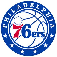 Philadelphia 76ers Primary Logo (2016) - 76ers in blue and red on a modernized basketball, 13 blue stars above the 7. Inside a blue roundel with PHILADELPHIA arched above and 6 stars below