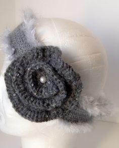 bandeau en laine gris et paillettes : Chapeau, bonnet par nastaya