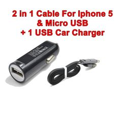 Universal 1 USB Mini Car Charger With 2 in1 Cable