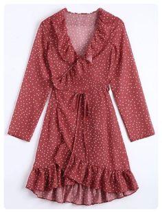 Star Print Wrap Dress (Dark red)