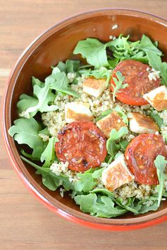 Hodgson Mill Recipe Blog   Quinoa & Brown Rice Halloumi Bowl & #Giveaway - Gourmet in a jiffy, and only five ingredients! Flavorful golden-brown pan-fried halloumi cheese, tangy balsamic tomatoes, fresh peppery arugula and fluffy quinoa and brown rice with Mediterranean spices. Check out the blog post for a #HodgsonMill product giveaway, ending Fri 4/25