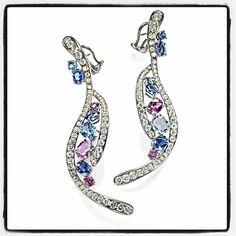 「 @by_couture the latest #extraordinairecollection pieces by #antoninimilano #lovely #sapphire #diamonds #earrings #laffite#ballroom#booth300 」