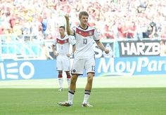 Muller after scoring a goal in the thrashing of Portugal.