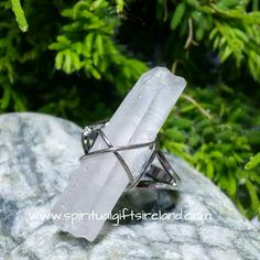 Clear Quartz Master Healer Raw Crystal Gemstone Adjustable Ring