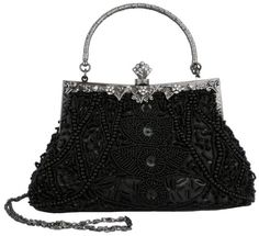 Exquisite Black Seed Bead Sequined Leaf Evening Handbag, Clasp Purse Clutch w/Hidden Handle