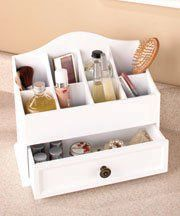 White Wooden Versailles Cosmetic Organizer With Drawer 12 1 2 X 10