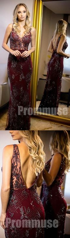 Burgundy Open Back Mermaid See Through Top Evening Long Prom Dresses, PM1007