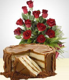 Flores a Paraguay Combo Dulzura: Torta 12 personas + Bouquet 12 Rosas