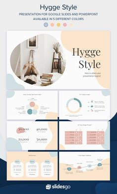 Use this cool Google Slides theme and PowerPoint template inspired by the trendy hygge lifestyle Creative Powerpoint Presentations, Powerpoint Design Templates, Powerpoint Template Free, Powerpoint Themes, Presentation Design Template, Powerpoint Poster, Powerpoint Slide Designs, Creative Web Design, Watercolor Clouds