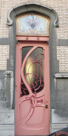 Art nouveau doorway in Brussels, Belgium (on the rue de Belle Vue)