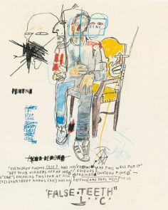 Jean-Michel Basquiat, René Ricard, oilstick, colored pencil and charcoal on paper, x (Rene passed away February Jean Michel Basquiat Art, Jm Basquiat, Basquiat Artist, Basquiat Paintings, Art Paintings, New York City, Graffiti Kunst, Radiant Child, Art Brut