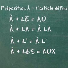 """La preposición """"à"""" más el artículo definido en francés."""