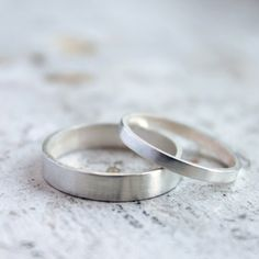 Silver Wedding Band Set  Silver Wedding Ring  His by moiraklime, $142.00