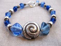 Shimmering Seas - blue fine silver coastal bracelet sealife jewelry