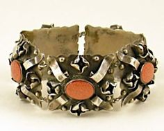 Early Mexican Silver Goldstone Strapwork Bracelet Taxco