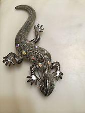 Large Textured Lizard Brooch Pin With Rhinestones Statement Piece