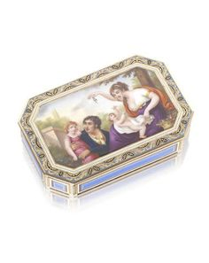 An early 19th century Swiss  gold and enamelled snuff box marks rubbed, faint mark for Geneva