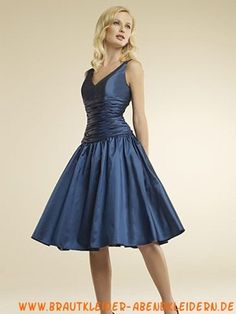 Günstiges blaues kurzes Abendkleid aus Taft V-Ausschnitt