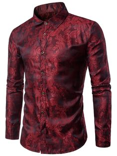 [24% OFF] 2020 Casual Long Sleeve Paisley Vintage Shirt In RED WINE | DressLily