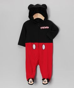 Take a look at this Black & Red Mickey Hooded Footie by Small World: Infant Apparel on #zulily today!