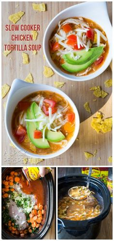 """So much love for this! // """"Slow Cooker Chicken Tortilla Soup""""   ASpicyPerspective.com #recipe"""