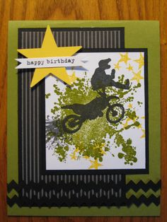 Birthday Handmade Card Dirt Bike Motercycle Boy Teen son nephew brother Stampin Up Bike's For You 🚲 Birthday Cards For Boys, Boy Birthday, Birthday Nails, Birthday Ideas, Happy Birthday, Birthday Parties, Boy Cards, Kids Cards, Dirt Bike Birthday