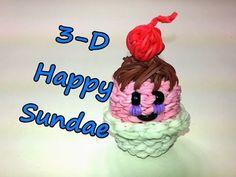 Happy Ice Cream Sundae Tutorial by feelinspiffy (Rainbow Loom) Rainbow Loom Tutorials, Rainbow Loom Patterns, Rainbow Loom Creations, Rainbow Loom Bands, Rainbow Loom Charms, Rainbow Loom Bracelets, Loom Crochet, Loom Knitting, Crochet Hooks