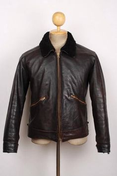 Vtg 1940s WWII Horsehide Leather Cyclist Jacket German LUFTWAFFE Hartmann Med/Lg