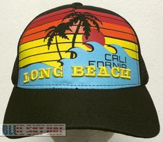 RETRO LONG BEACH CALI CA CALIFORNIA SUNSET SUNRISE OCEAN 5-PANEL MESH CAP HAT OS #Premiumhat #5Panel