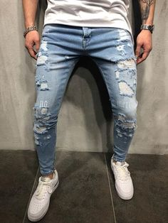 US Men Stretchy Jeans Ripped Skinny Biker Jeans Destroyed Taped Slim Denim Pants Skinny Biker Jeans, Ripped Shorts, Skinny Fit, Fashion Night, Boy Fashion, Mens Fashion, Fashion Shirts, Fashion 2016, Modern Fashion