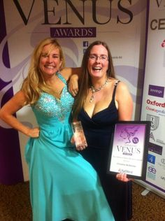 Owner Christine with Tara from the Venus Awards, getting the Venus Oxfordshire Award for Best New Media & Online Business 2014!