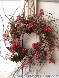 Nordic Natural Winter Wreath Small Wreath Gift von TheLinnetsWing