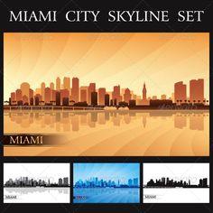 Miami City Skyline Silhouettes Set