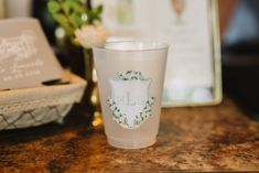 Wedding Bar Decor, Custom Cups, Crest, Blue Wedding Decor, Simple Wedding Decor