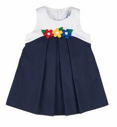Florence Eiseman Girls Navy Blue / White Pique Colorblock Sleeveless Dress