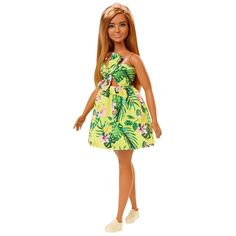 Papusa Barbie Fashionistas 126, FXL59 Doll Clothes Barbie, Barbie Dolls, Fashion Dolls, Kids Fashion, Barbie Shop, Girl Hair Colors, Barbie Fashionista Dolls, Dark Blonde Hair, Tropical Dress