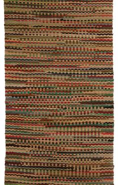 """SHAKER RAG RUG, floor runner, fabric scraps: twisted strips of red, black, blue/green, cream/white, alternating every 2"""" to 6"""" in the pattern, Canterbury Shakers, c. 1850-1870, 7' 6"""" l, 27"""" w."""