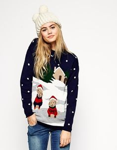 ASOS Holidays Sweater In Winter Scene With Dogs - Navy