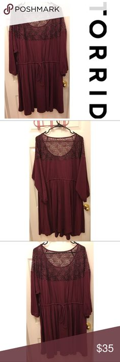 Torrid Soft Knit Drawstring Laced Yoke Dress Torrid Soft Knit Drawstring Laced Yoke Dress has been worn once and is in excellent condition! Beautiful Lace shoulders and Top are perfect for showing a little skin while be warm and cozy! Super soft and stretchy, this dress is super flattering and cinches in at the waist for your own custom fit. Pairs perfectly with boots and leggings Size 4X, Torrid Size 4 torrid Dresses Long Sleeve