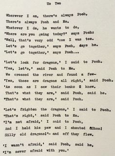 Wherever I Am Theres Always AA Milne Pooh Poem Us Two Wedding Readings Love Typed On Vintage Typewriter