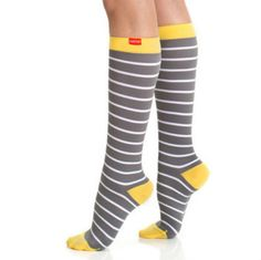 Compression Socks Grey & White Stripes. Much needed for tackling clinicals and 12 hour shifts as a nurse.