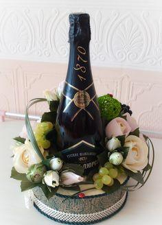 Happy Birthday Celebration, Cute Happy Birthday, Food Bouquet, Candy Bouquet, Diy Bottle, Wine Bottle Crafts, Chocolate Flowers Bouquet, Wine Gift Baskets, Bridal Shower Centerpieces