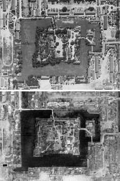 Hiroshima - view of Hiroshima Castle and surroundings; Upper image - July 24, 1945, photo by 28th Photo Reconnaissance Squadron Lower image - August 11, 1945, photo by 6th Photo Reconnaissance Group Source: U.S. National Archives, College Park, MD, Record Group 373, Defense Intelligence Agency, Aerial Film, U.S., Army Air Force. Courtesy of Tim Brown.