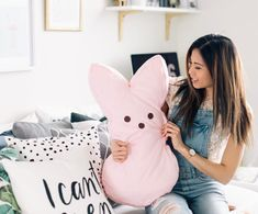 Is it time to replace your pillow cases? Put them to good use and make an oversized bunny pillow, just in time for Easter! YOU WILL NEED: Old Pillow Case / Fleece Fabric (preferably with a … Spring Projects, Fun Projects, Easter Crafts, Crafts For Kids, Disney Pillows, Sewing Crafts, Diy Crafts, Old Pillows, Fleece Fabric