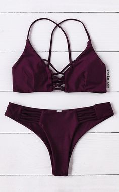 Burgundy Criss Cross Design Bikini Set
