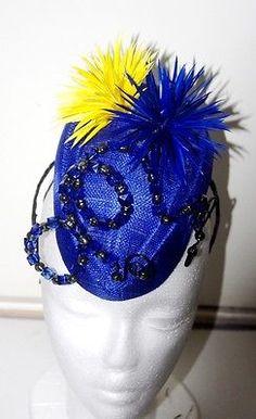 OOAK Royal Blue Yellow spikes flowers sinamay bead fascinator hat Races, wedding