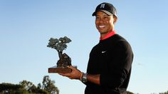The Farmers Insurance Open trophy, which Tiger Woods won for the seventh time, is a replica of a torrey pine tree, for which host venue Torrey Pines is named.